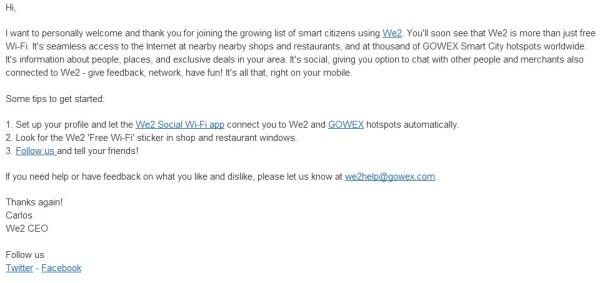 email aplicación we2 de Gowx