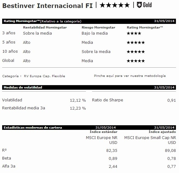 bestinver internacional según morningstar