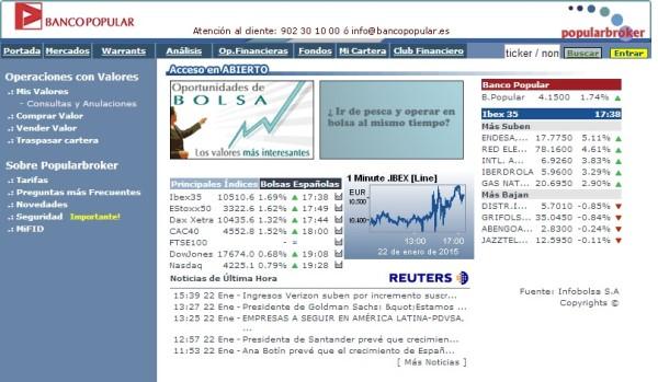 Broker online del banco popular en 2017 y 2018 en España y México