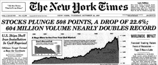 el crash de 1987 en Bolsa según los periódicos