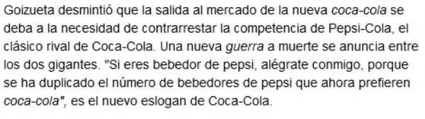 Gpizueta CEO Coca Cola y cambio sabor