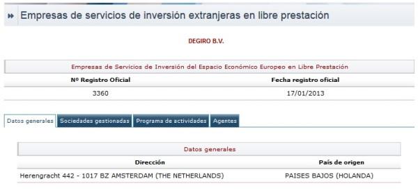 deziro en la CNMV de España en 2017 y 2018 en México, Colmbia y Argentina