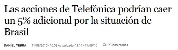 explicación sin sentido de la caída en la cotización de las acciones de Telefónica en el diario bursátil El Economista