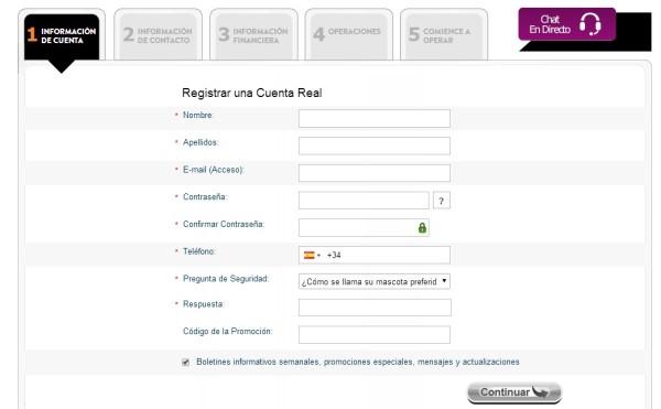 cómo contratar el broker markets.com en español
